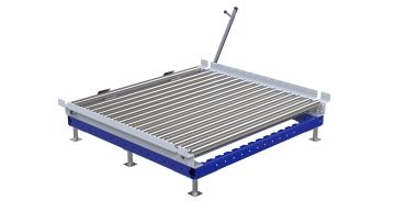 Custom designed transfer cart for pallets and containers. Q-100-2117 Transfer Station - 1190 x 1300 mm