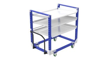 Flow shelf cart equipped with three shelves designed for material presentation.