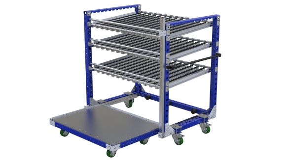 Three-level cart used to transport bins, boxes or totes.