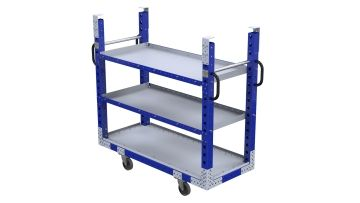 Three-level daughter shelf cart designed to fit within a mother frame.
