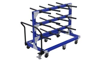 Cart with horizontal tubes for hanging components.