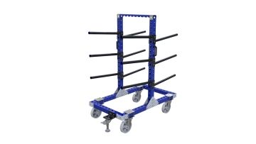 Hanging cart designed for holding large and heavy reels.