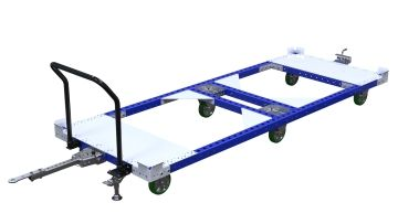 Large tugger cart without steel flat deck for pallets and containers.