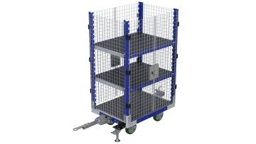 Shelf cart with attached wire mesh to secure the materials.
