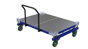 Push cart designed with four high quality casters, handlebar and a floor friction brake, for easier material handling.