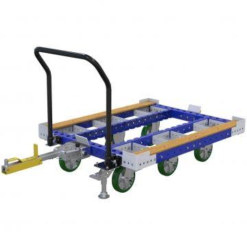 Routenwagen - 1050 x 1260 mm Standard-Routenwagen von FlexQube entwickelt, um den Transport von Paletten und Containern zu verbessern. Es verfügt über einen ergonomischen Lenker für eine einfachere manuelle Handhabung durch den Bediener. Zusätzlich ist eine Fußauslösedeichsel angebracht, die die Ergonomie beim Lösen des Wagens vom Routenzug verbessert. Standard-Routenwagen ohne flaches Deck zum Transport von Paletten und Containern.