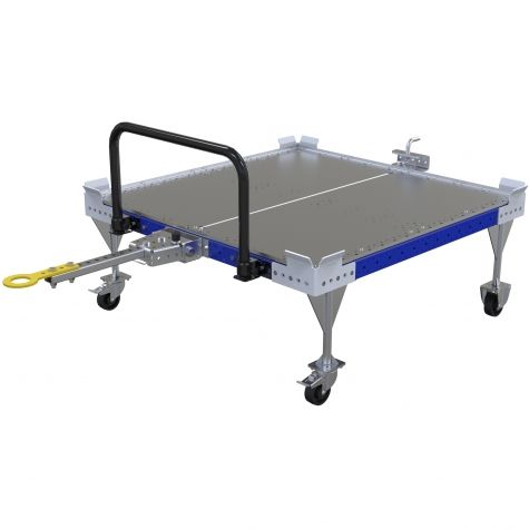 Flat deck pallet cart designed to be used together with an AGV system. This cart also comes with a handlebar for manual transportation.