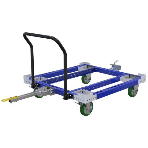 Standard tugger pallet cart used for transporting pallets and containers.