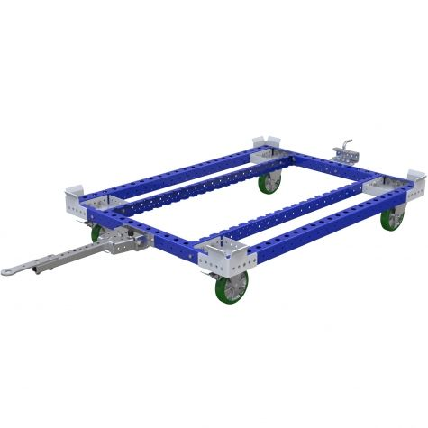Tugger cart without flat deck for transporting pallets and containers.