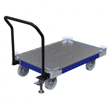 Simple pallet cart designed for transporting pallets and containers.