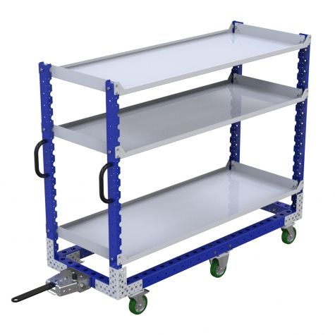 Flat shelf cart with tow bar