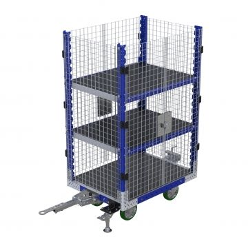 Flat shelf cart with wire mesh