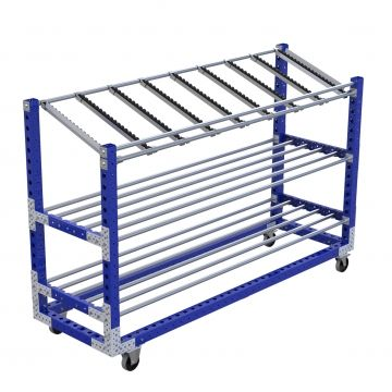 Long shelf cart with beams
