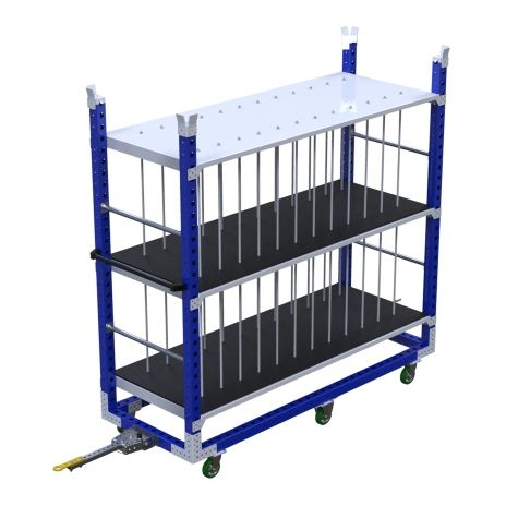 Shelf cart with beams for protection
