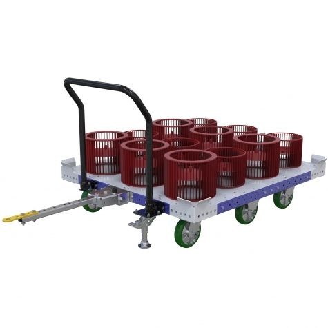 Flat deck pallet cart with towbar, handlebar, floor brake and PU casters