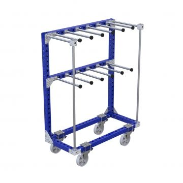 Cart with two level of hangers, has nylon casters and used with hand push