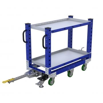 Shelf tugger cart with towbar and handles for manual push