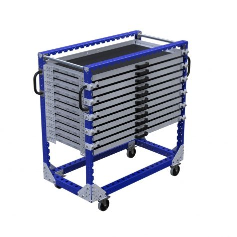 dable shelf cart with eleven levels. The cart comes equipped with handlebars and four nylon swivel casters with brakes.