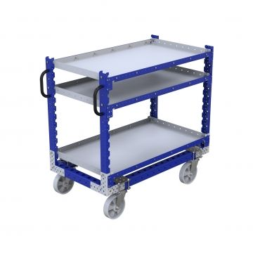Three leveled flat shelf cart that can be used to transport bins, boxes and loose parts.