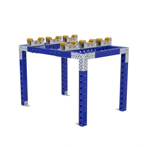 This rack is designed to place cylinders of a special size on top. The rollers help keeping the cylinders in place and allows easy removal, making it perfect for assembly or production lines.