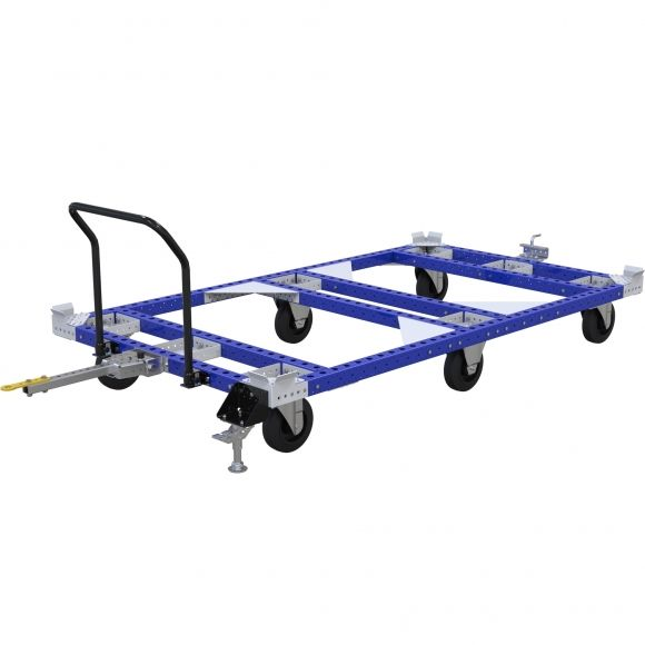 Standard tugger pallet cart for transporting pallets, containers or other types of racks on top. The cart is equipped with drop pin towbar, top bent handlebar, and floor brake.