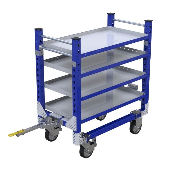This is a four leveled shelf cart formed by two structures: the bottom one with that includes base frame and three levels and the rop one that includes one level of shelves.