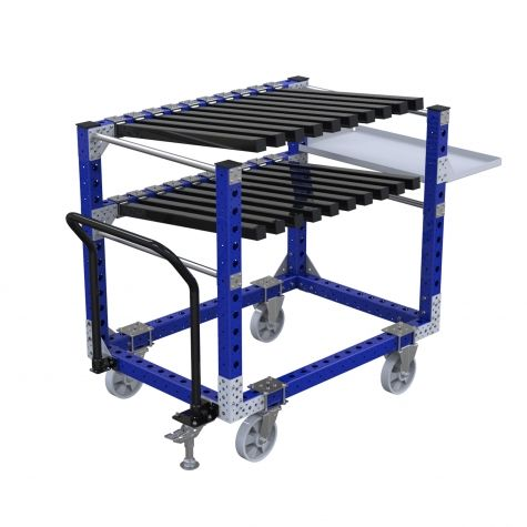 Hanging cart with two levels of heavy-duty hangers.