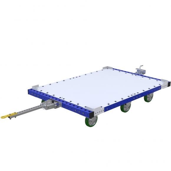 Tugger cart to transport pallets and containers of different sizes.