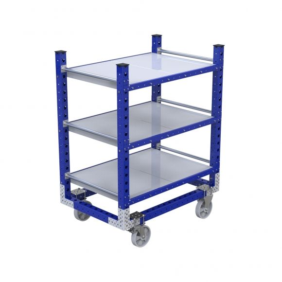 Three-level flat shelf cart used to transport bins, boxes or loose parts.