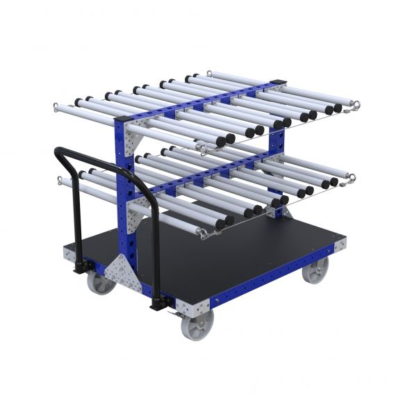 This cart is designed to transport parts placed vertically between the tubes.