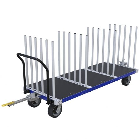 Specially designed cart for transporting unique materials upright.