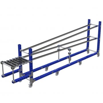Custom designed roller rack for presenting materials to the operators.