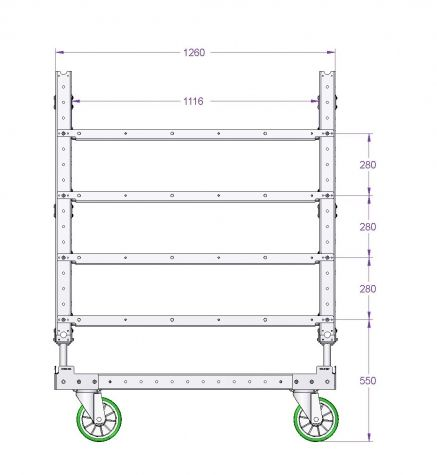 Flat Shelf Cart 1260 x 630 mm