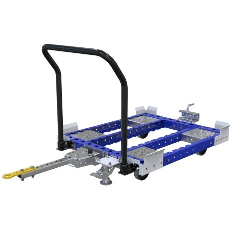 Standard tugger cart designed for moving pallets and containers.