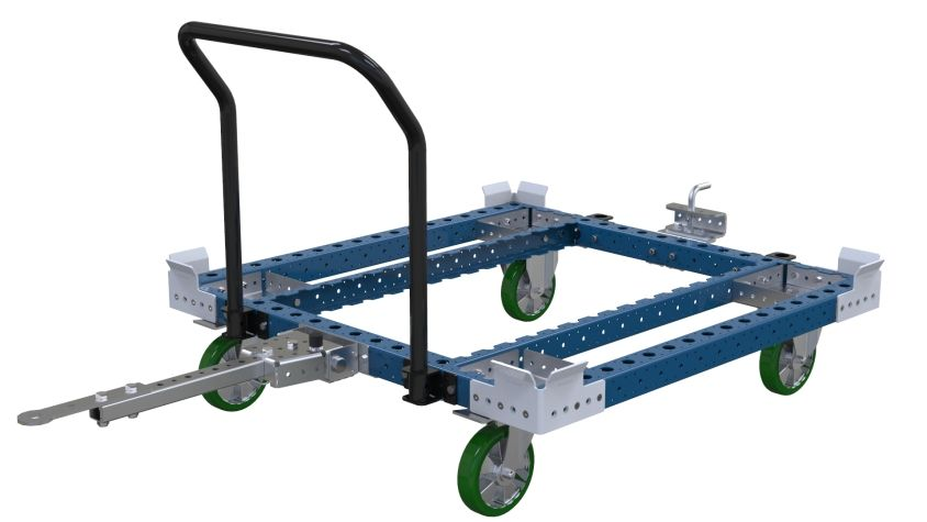 Tuggable pallet and container cart equipped with four casters and a handlebar for easier manual transportation.