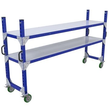 Two-level flat shelf push cart, most commonly used for transportation of totes/bins/boxes or loose components.