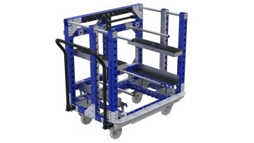 This kit cart was designed to store and transport wheelhouses for a car.