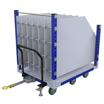 This cart was designed to transport large steel panels of various sizes between the warehouse and assembly area.