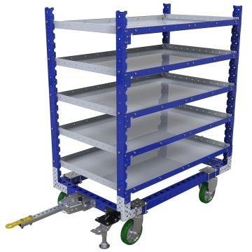 Five-level flat shelf tugger cart, most commonly used for transportation of totes/bins/boxes or loose components.