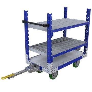 Three-level flat shelf tugger cart, most commonly used for transportation of totes/bins/boxes or loose components.