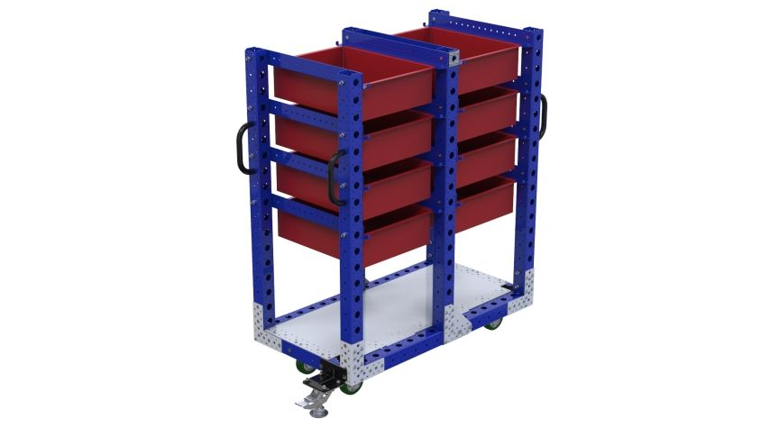 This cart was designed to store and transport large boxes.