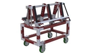 This cart was designed to store and transport glas tiles between the warehouse and assembly area.