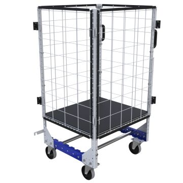 This cart was designed to transport trays between two roller tracks.