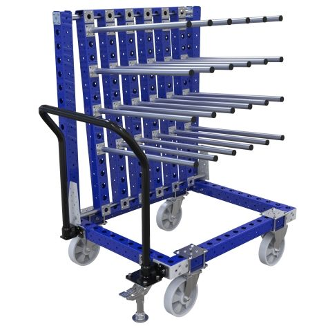 Robust hanging push cart equipped with twenty-four tube hangers attached at an angle