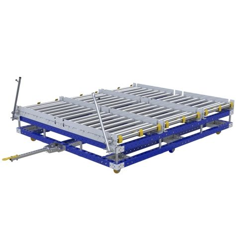Tugger pallet conveyor cart designed to transport pallets between warehouse and assembly line.