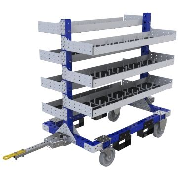 Two-sided tuggable flat shelf cart used for the storage and transportation of bins, totes, boxes and similar material.