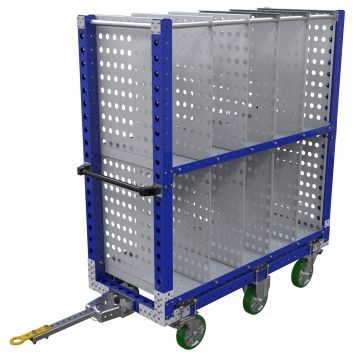 Two-level tuggable flat shelf cart most commonly used for the transportation of totes/bins/boxes or loose components.