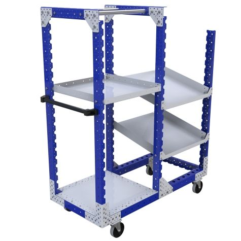 Two section shelf kit cart most commonly used for storing and transporting totes, bins, boxes and loose components.