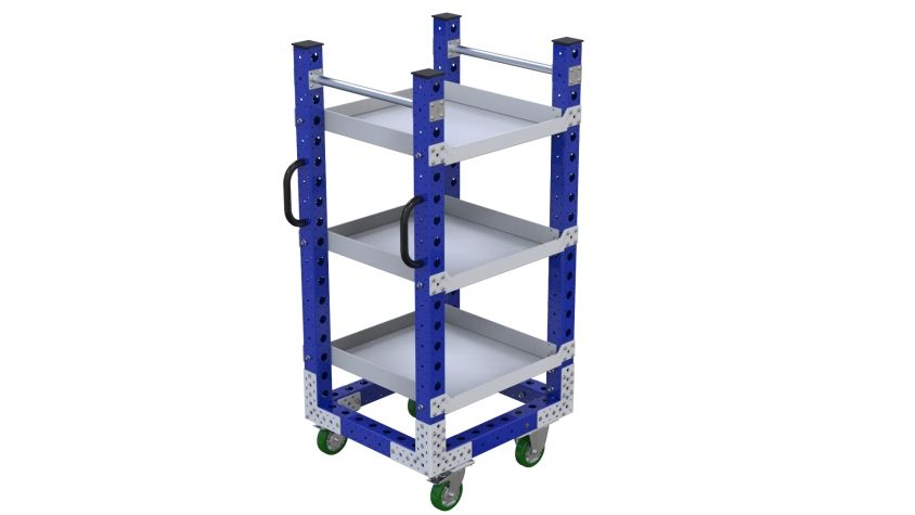 Three-level flat shelf push cart, most commonly used for transportation of totes/bins/boxes or loose components.