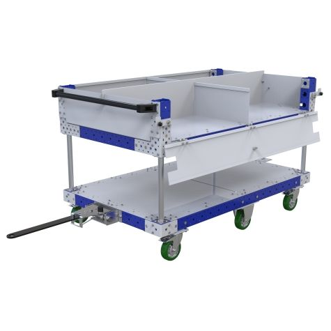 Two-level flat shelf tugger cart with a split into four sections with removable dividers on the top shelf.